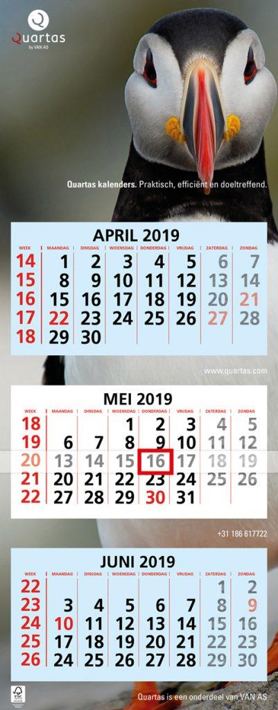 De wandkalender met 3 maanden overzicht inclusief datumaanwijzer