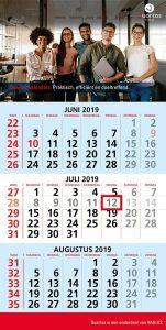 budgetvriendelijke kalender met 3 maanden overzicht inclusief datumaanwijzer